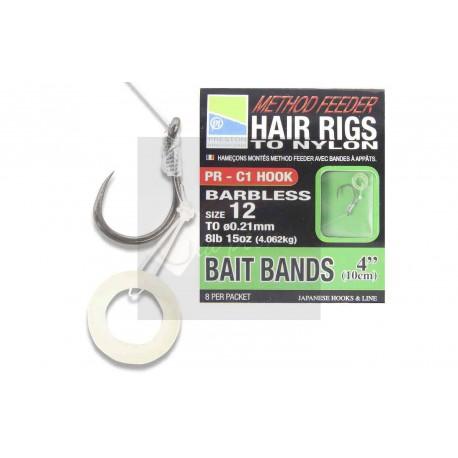 Bas de ligne cheveux method feeder pellet band Preston 10 cm